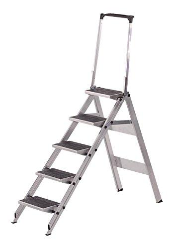 neoLab 2-6623 Sicherheits-Trittleiter 5 Stufen, Standhöhe 1,15 m, Sicherheitsbügel