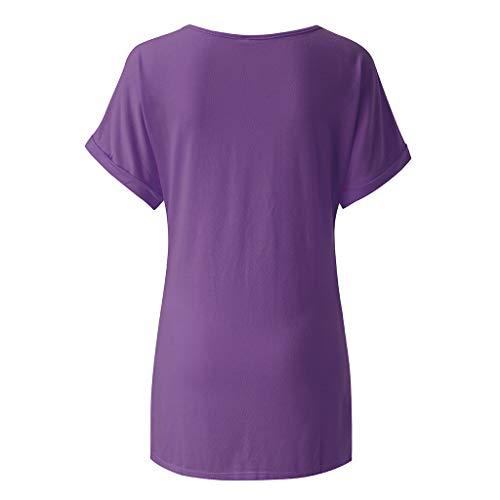 Pullover Sweatshirt für Damen,Kobay 2019 Halloween Heiligabend Weihnachten Frauen Baggy Übergroße Loose Fit Drehen Flügelhülse Damen V Ausschnitt Top T Shirt Bluse Pullover -
