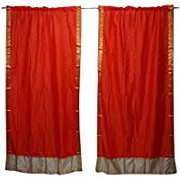 Mogul Interior 2 Indian Sari Cortina Drape Orange Window Treatment Home Decor 84 x 44