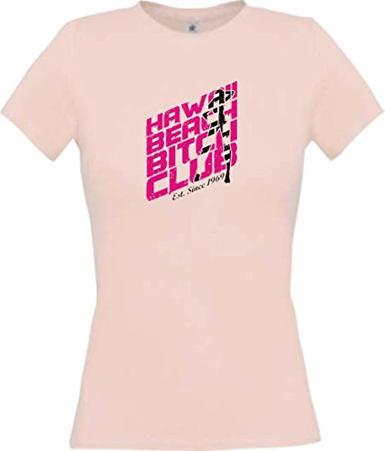 Lady-Shirt Hawaii Beach Bitch Club, Farbe rosa, Größe XL (T-shirt Hawaii-womens Rosa)