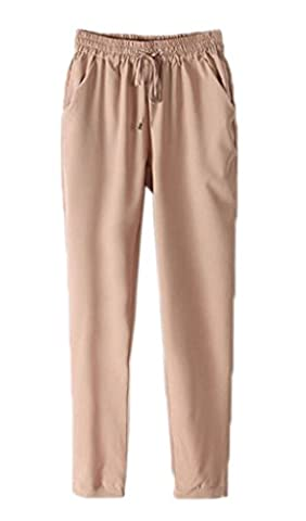 Smile YKK Pantalon Mousseline de Soie Femme Legging Fluide Automne Hiver Soirée Casual Elégant Beige Tour Taille
