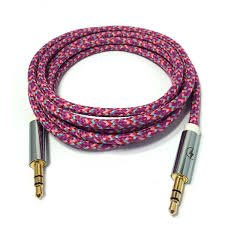 JYARA Fabric Woven Braided 3.5mm to 3.5mm Universal AUX TangleFree Auxiliary Cable for Car Stereo,Mobile Phones,CD,MP3,DVD,MP4 Players 1.5m Long Colorful Tangle Free. Compatible with Samsung V100  available at amazon for Rs.199
