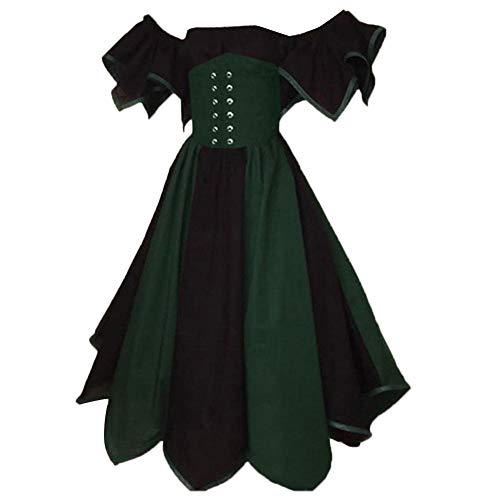 BVufg Dame retro schulterfrei korsett patchwork mittelalterlichen maxi dress cosplay kostüm Dark Blue XXL (Mittelalterliche Kostüm Korsett)