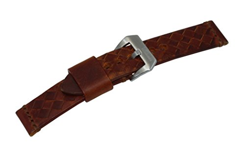 24mm-brown-woven-italian-leather-watch-band-with-satin-finished-stainless-steel-buckle