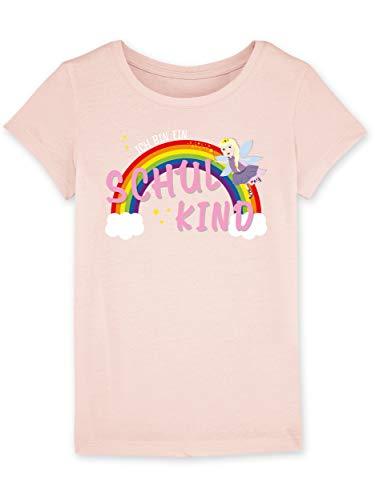 Shirtracer Einschulung - Ich bin ein Schulkind Fee-Prinzessin - Bio T-Shirt für Mädchen Erstklässler Kinder leicht tailliert (5-6 Jahre 110-116 cm, rosa meliert)