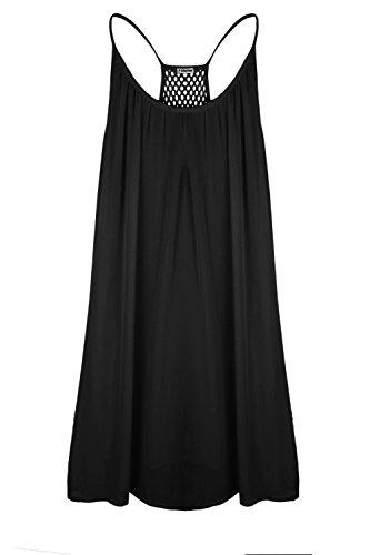 Robe de Plage été Casual Femme - Nuit Jaune Fluorescent Robe - Mousseline de Soie Robe Sexy Courte Sans Manches Noir