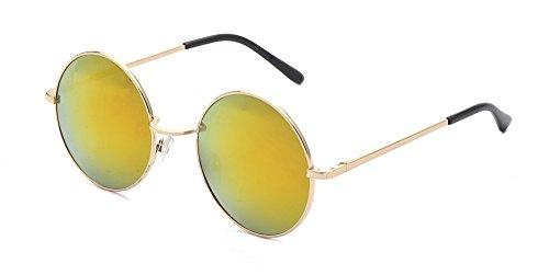 ALWAYSUV Retro Metall Vollrand Rahmen PC Verspiegelt Linse Unisex John Lennon Sonnenbrille Schutzbrille (John Kostüm Lennon Sonnenbrille)