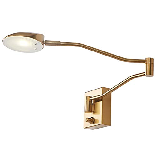Moderne LED Wandleuchte Verstellbare Lange Arm Bettlampe Leselampe mit Dimmbar Schalter und 1.5M Kabel, Metall Schlafzimmer Nachttisch Wandlampe für Arbeitszimmer Wohnzimmer, 4000K Warmweiß,Gold -