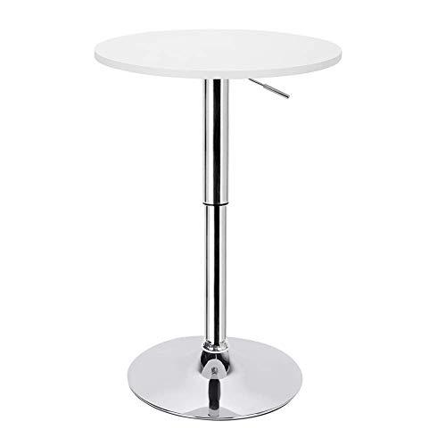 Greensen Stehtisch Bartisch Höhenverstellbar Bistrotisch MDF Beistelltisch mit Drehbare Tischplatte Gartentisch Design Tisch Weiß