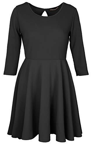 Emma & Giovanni - Elegant Kniekleid mit 3/4 Ärmel, für alle Gelegenheiten - Damen (Schwarz, DE 46/48 (Herstellergröße XL))