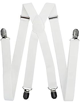 axy Hochwertige Herren Hosenträger breit 2,5 cm mit 4 Starken Clips X-Form und Damen