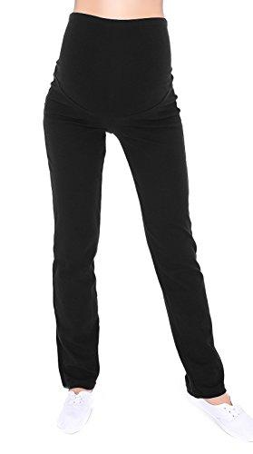 Schwangerschaftshose / Yogahose mit extra Bauch-Panel / Umstandsmode (S, Schwarz)