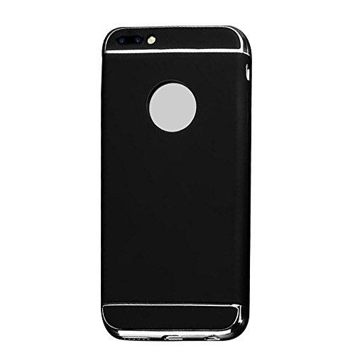 Cuitan 3 in 1 PC Harte Schutzhülle für Apple iPhone 7 plus (5,5 Zoll), mit Electroplate Bumper Rück Abdeckung Back Cover Voll Protective Case Hülle Handytasche Rückseite Tasche Handyhülle für iPhone 7 Schwarz