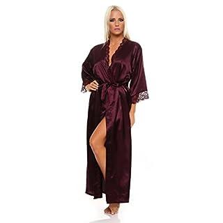 AE Damen langes Kimono Nachtmantel Seidenrobe Morgenmantel Nachtwäsche Dessous Satin Nightwear Reizwäsche mit Spitze Gr. S-XXL Dunkellila M
