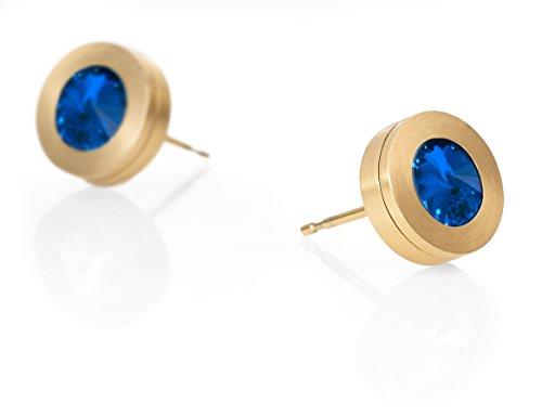Heideman Ohrringe Damen Colori aus Edelstahl gold farbend matt Ohrstecker für Frauen mit Swarovski Stein Kristall sapphire blau im Fantasie Edelstein Schliff 6mm