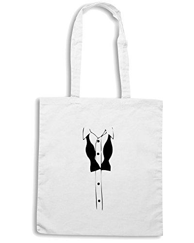 T-Shirtshock - Borsa Shopping MAT0072 Smoking Suit Maglietta Bianco