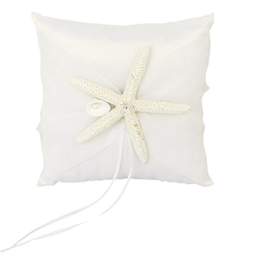 Wedding Ring Pillow Cushion Bearer Starfish Decorated 20 x 20cm---Ivory