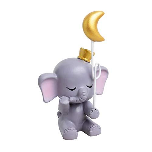 Healifty Ornamento de la Estatua de la Luna del Elefante de la estatuilla Linda de la Resina Ornamento de la decoración de la Torta