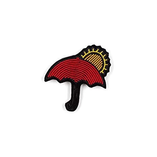 ZHENZHIA Brosche Sonnenschirm Stickerei Abzeichen Schmuck