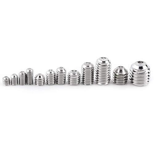 Pack von 240 Stück M3 / M4 / M5 / M6 / M8 304 Edelstahl Sechskant Madenschrauben Kopfmuttern Gewinde Cup Point Maschinenbefestigung Sortiment Kit mit Sechskantschlüssel