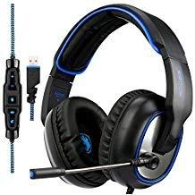 [2018NEU Aktualisiert] Sades R7Gaming Headset USB Surround Sound Over-Ear Gaming Kopfhörer für Computer PC MAC Laptop (schwarz)