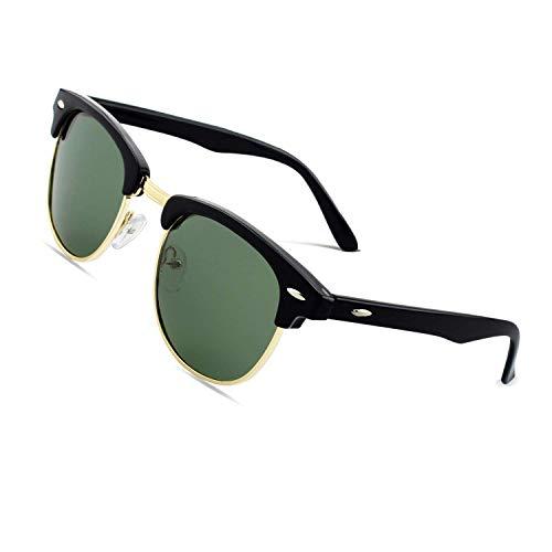 CGID MJ56 clubma Retro Vintage Sonnenbrille im angesagte 60er Browline-Style mit markantem Halbrahmen Sonnenbrille,Glänzend Schwarz-Grün