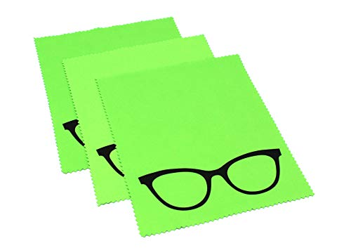 3x Mikrofaser Brillenputztuch - Brille - grün - groß - 18cm x 14,5cm - Putztuch Displayputztuch Reinigungstuch für Kamera iPad iPhone Tablet PC