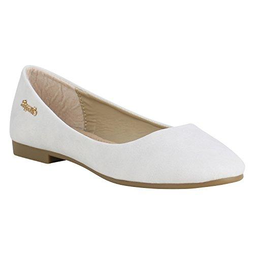 Klassische Damen Ballerinas Leder-Optik Flats Schuhe Übergrößen Flache Slipper Spitze Prints Strass Flandell Grau Camiri
