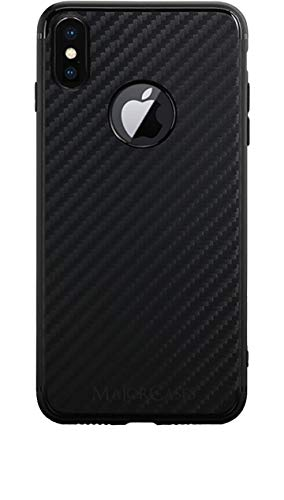 MajorCases Premium iPhone X/XS Carbon Design Case Ultra Slim und Federleicht - Designed in Germany (Schwarz) -