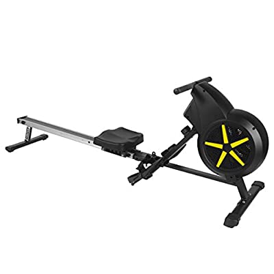 JLL® Ventus 1 Air Rower, 2019 Model Rowing Machine Fitness Cardio Workout with Adjustable Dual Resistance, Air and Friction Resistance, 12-Month Warranty, Black and Yellow Colour by JLL