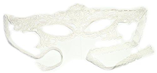 PRESKIN - Spitzenmaske für Karneval, venizianische Verführung aus Spitze für Fasching, weiße Maske für Verkleidung und ()