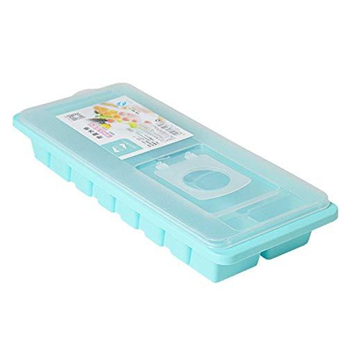 Eiswürfelbehälter kleiner Würfel Silikon 16 Cavity Eiswürfel Hot Ice Cube Box mit Deckel Abdeckung Getränk Jelly Gefrierschrank Mold-Eis-Hersteller vorrätig Kitchen Tool Geschenk, Blau,