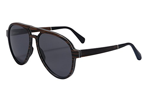 SHINUPilot Sonnenbrille polarisierte Holz Sonnenbrille Mann-echtes Holz Sonnenbrillen-SH73001 (ebony grey)