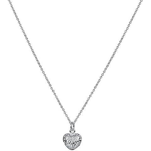 Señoras plata filigrana Corazón Locket con 46cm de plata de ley Curb Plata de Ley chain-925