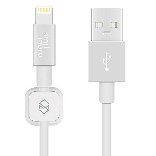 Sinjimoru iPhone Ladekabel mit magnetischem Kabel Clip, Kabel kompatibel mit iPhone, iPad und iPod mit Kabelführung. Magnetischer Kabelhalter mit iPhone Kabel, Weiß.