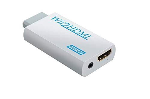 Mondpalast @ Wii zu HDMI Konverter Wii2HDMI Adapter 1080P Full HD mit 3,5 mm Stereo-Audio-Buchse für Nintendo WII wii Konsolen Monitor HDMI HDTV Beamer (Externe Lautsprecher Für Hdtv)