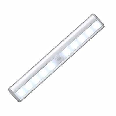OxyLED T-02 DIY Stick-on Anywhere Portable 10-LED Wireless Motion Sensing Closet Cabinet LED Night Light / Stairs Light / Step Light Bar with Magnetic Strip (Battery Operated) - Silver (1 x OxyLED T-02) (1 x OxyLED T-02) - cheap UK light shop.