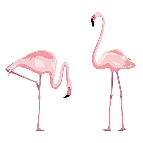 decalmile Rosa Flamingo Wandtattoo Vinyl Peel und Stick Herausnehmbar Wandaufkleber für Kinderzimmer Schlafzimmer Wohnzimmer (Peel-stick Vinyl)