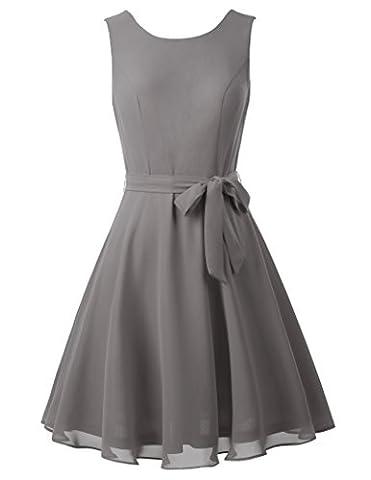Damen elegant ärmellos sommerkleid ballkleid knielang festliches kleid Grau S KK625-5