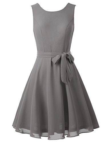 Elegant chiffon kleid festliches kleid damen kleider sommerkleid grau urlaube kleid L KK625-5 (Chiffon-cocktail-kleid Ärmelloses)