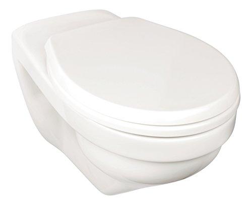 Wand-WC-Set liDano +6 cm | Erhöhtes WC | Weiß | Inklusive WC-Sitz | Für Senioren und große Menschen | Tiefspüler