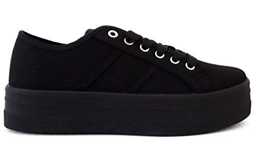 Hailys Damen Plateau Sneaker Low Top Canvas Sportschuhe (38, Black)