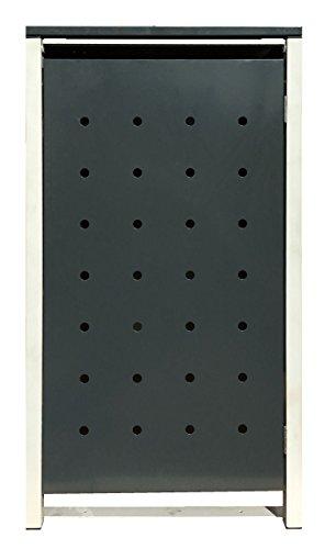 BBT@ | Hochwertige Mülltonnenbox für 4 Tonnen je 240 Liter mit Klappdeckel in Grau / Aus stabilem pulver-beschichtetem Metall / Stanzung 3 / In verschiedenen Farben sowie mit unterschiedlichen Blech-Stanzungen erhältlich / Mülltonnenverkleidung Müllboxen Müllcontainer - 3
