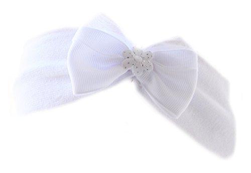 Baby Kinder Haarband Stirnband Hairband Weiß mit Schleife festlich Taufe La Bortini (KU 40-52cm.)