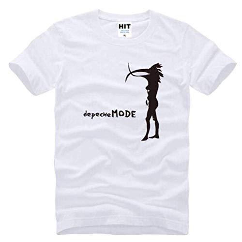 Herren Kreative Baumwolle Super Premium Atmungsaktive Mode Kurzarm Rundhalsausschnitt Einfach Reine Lose T-Shirt,Weiß schwarz, XL