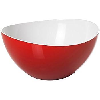 23 cm Esmeyer 303-033 Lot de 3 Saladiers Plastique Blanc//Rouge