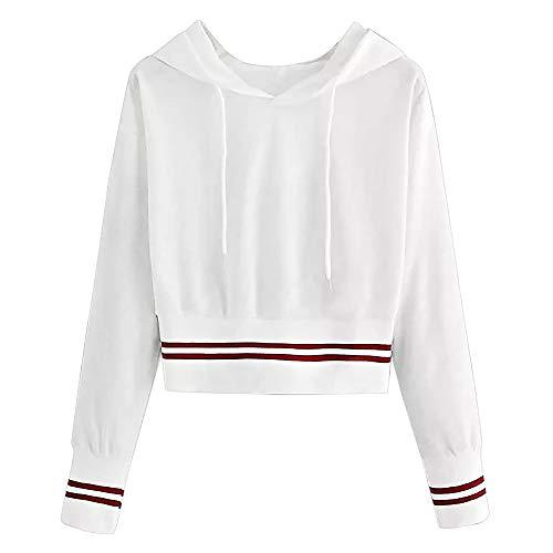 Jaminy Damen Casual V-Ausschnitt Kapuzenpullover Hoodie Bewegung Sportsjacke Tops Damen Lang Kapuzenpulli Sweatshirts Hoodie S-XL (Weiß, S)