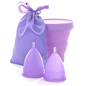 Cuppy´s Menstruationstassen Set medizinisches Silikon BPA Frei Größe S & L inkl. Desinfektionsbecher im Set