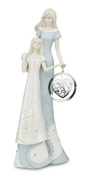 Little Things Mean A Lot Mother and Daughter Figurine, 8-Inch, Holding Silver Heart