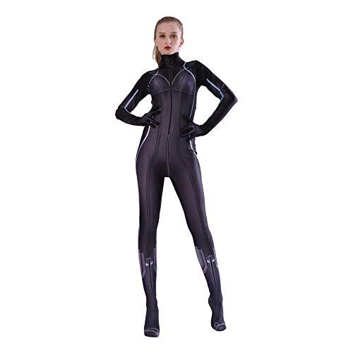 Kind Erwachsener Avengers Black Widow Cosplay Kostüm Superhelden Verkleidung Halloween Mottoparty Strumpfhosen 3D Druck Spandex Onesies,Adult-XXXL